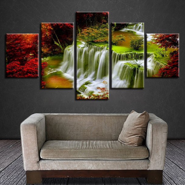 Wall Art Poster Painting Printing 5 Pieces Red Tree Waterfall Natural Landscape Canvas Pictures Modular Decor Living Room Frames