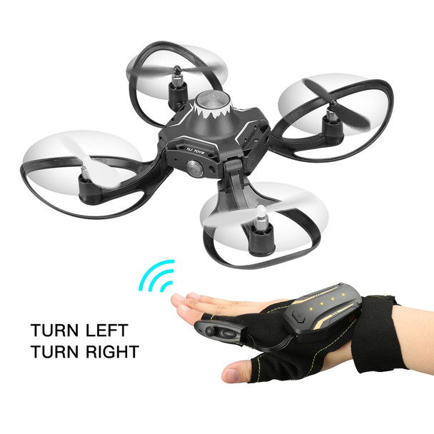 6-Axis Remote Control Drone 2.4G RC Helicopter Quadcopter Aircraft with LED Light Hand Glove Control Foldable Arm with Camera