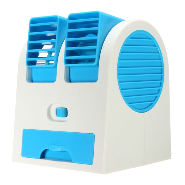 1Pcs Portable Mini ABS Fan Bladeless Air Conditioner USB Fan Cooling Desktop PC Dual Green Hot Pink Blue Color