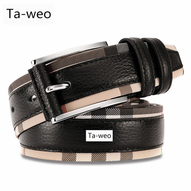 Casual Fashion Men's Cowhide Leather Belts High Quality Patchwork Plaid & Solid Belt For Men's Jeans Belts Luxury
