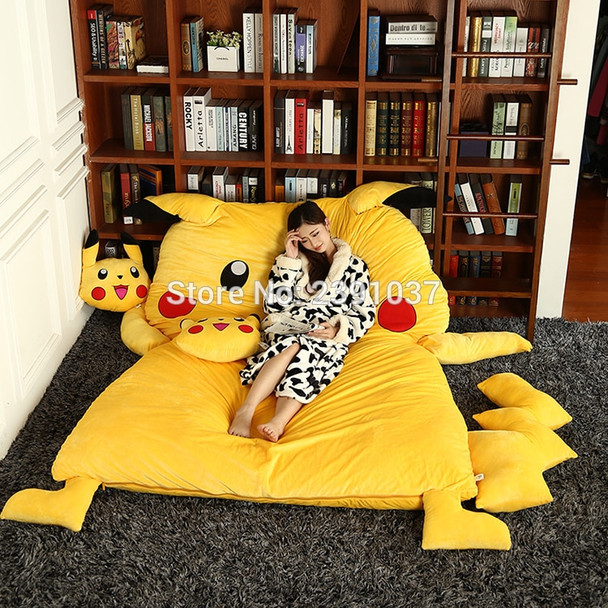 150x200cm Lovely Pikachu Sleeping Bag Sofa Bed Twin Bed Double Bed Mattress for Children Oversized Beanbag Tatami Sofa (