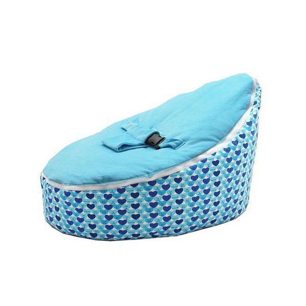 Portable Bean Bag Cover Feeding Chair Baby Pouf with Adjustable Belt Harness Safety Protection Soft Kids Sleeping Toddler Chair
