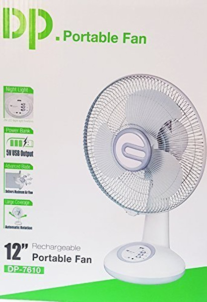 """DP 12""""rechargeable table fan with 4-5 Hours back up AC/DC Function With LED Light oscillation function USB port for mobile charging"""