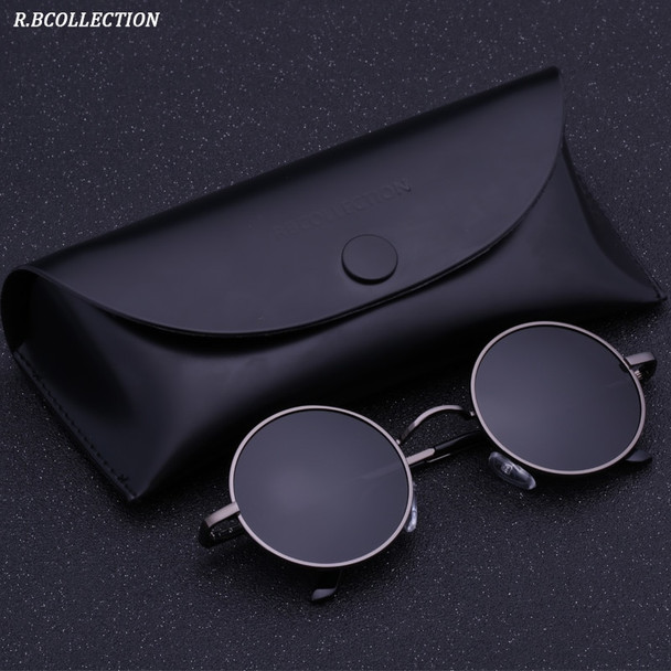 Black Metal Polarized Sunglasses Gothic Steampunk Sunglasses Mens Womens Fashion Retro Small Vintage Round Eyewear Shades