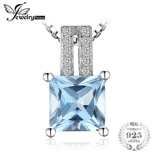 JewelryPalace 1.3ct  princess-cut Sky Blue Topazs Wedding Anniversary Pendant Necklaces Real 925 Sterling Silver 45cm Box Chain