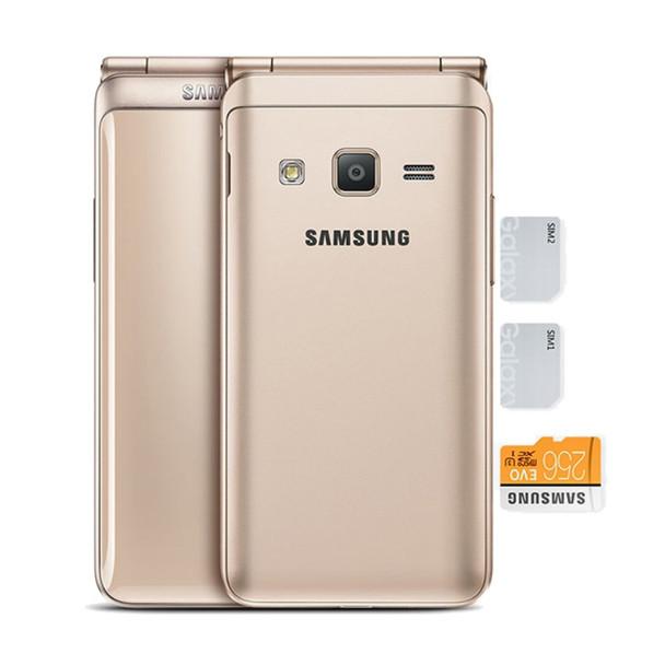 "New Unlocked Samsung Galaxy Folder 2 G1650 Quad Core 8.0MP 3.8"" Flip Smart Phones 4G LTE Dual SIM 16GB ROM 2GB RAM Mobile Phone"