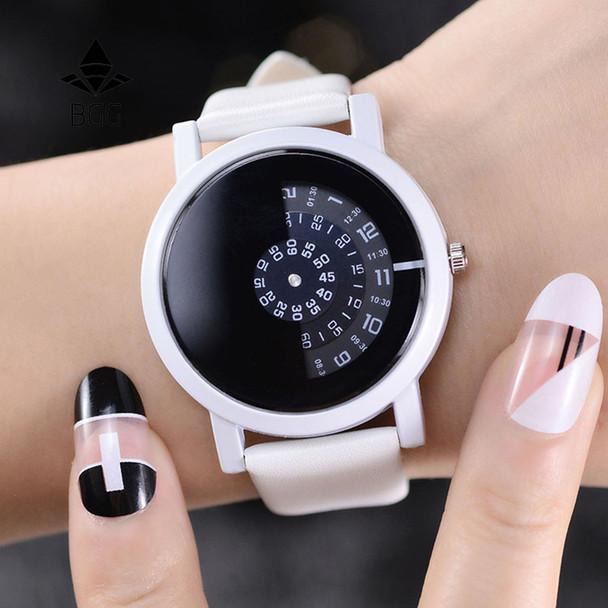 2017 BGG creative design wristwatch camera concept brief simple special digital discs hands fashion quartz watches for men women