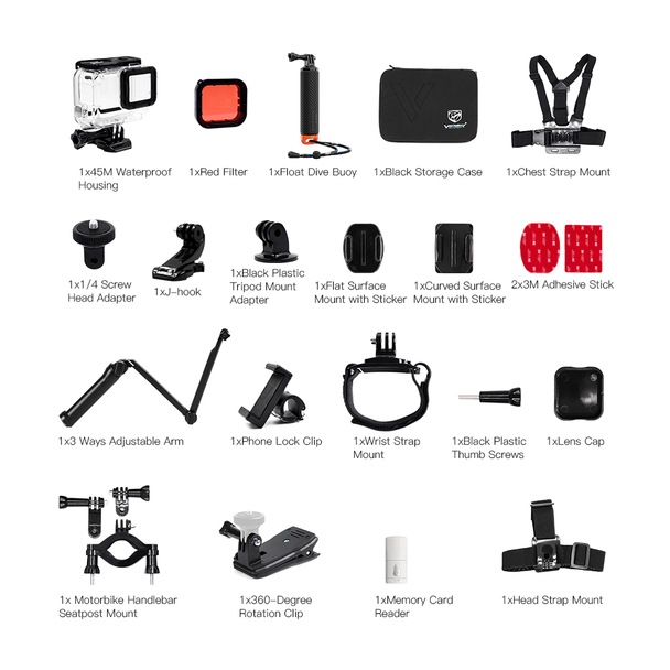 GoPro HERO7 Black Action Camera + Sports Accessories Kit Bundle for Hero 7 Black