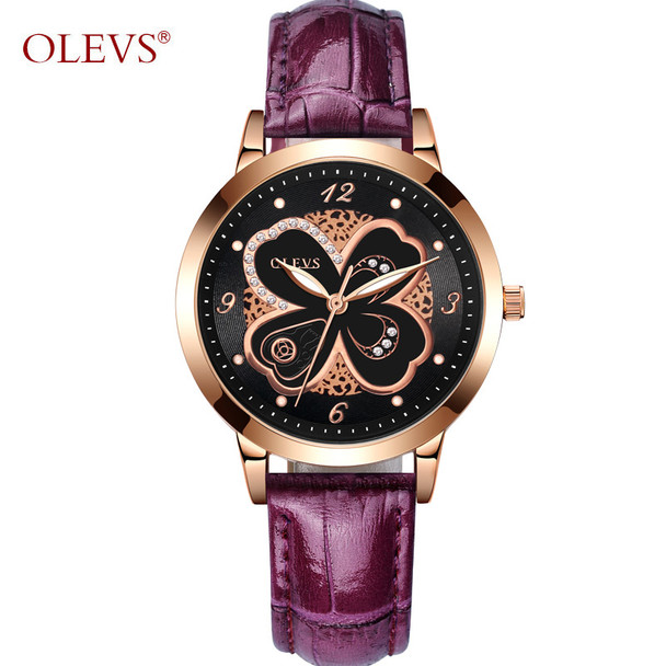 OLEVS Luxury Gold Ladies Watches Flowers Dial Leather Strap Women Quartz Wristwatch Purple/White/Pink/Red Luminous Woman's Watch
