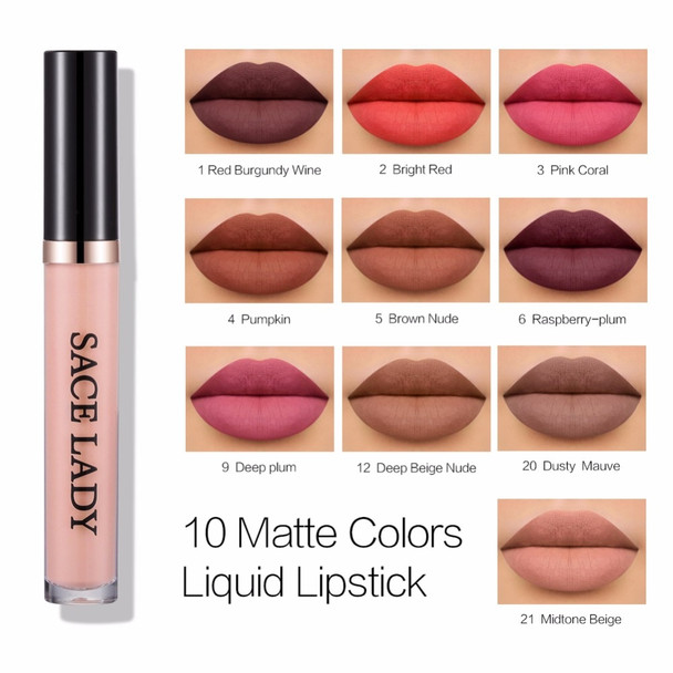 d8a8443e80fd SACE LADY Metal Lipstick Waterproof Matte Makeup Liquid Lip Gloss Tint Long  Lasting Lipgloss Glitter Paint Make Up Cosmetic