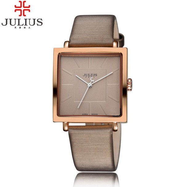 2017 JULIUS Quartz Brand Lady Watches Women Luxury Rose Gold Antique Square Leather Dress Wrist watch Relogio Feminino Montre