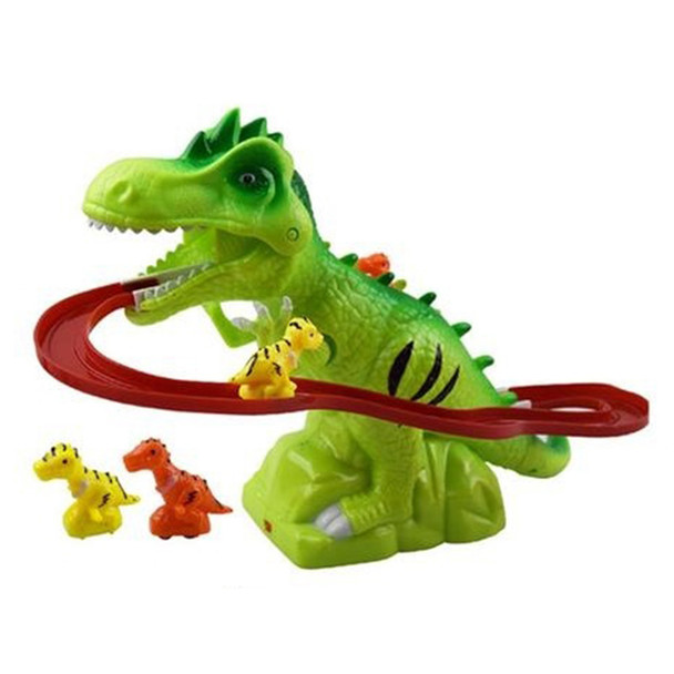 Children Electric Tracks Climb Stair Dinosaur Toys Glowing With Sound Kid Toy Animals Model Interactive Toys