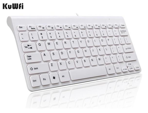 KuWFi New Keyboard Ultra thin Quiet Small Size 78 Keys Mini Multimedia USB Keyboard For Laptop PC Macbook