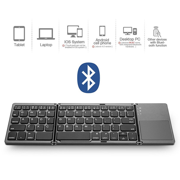 3 in 1 Wireless Bluetooth Keyboard Super Slim Touchpad Twice Foldable Keypad Rechargeable for Tablet/Laptop Android/IOS devices