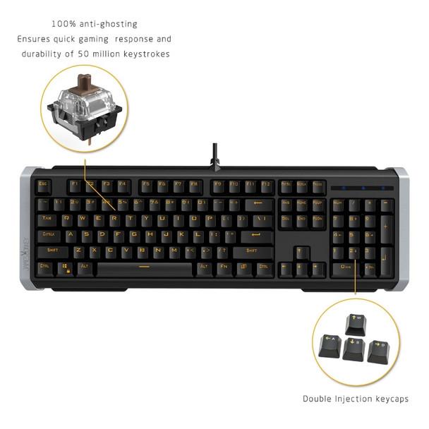 Ergonomic Anti-ghosting 104 Keys Gaming Mechanical Keyboard with USB Wired LED Backlight for Mac Desktop PC Gamer Black or Whit