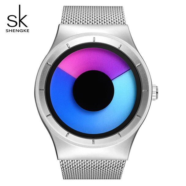 SK Creative Women Watches Unique Design Mesh Band Silver Wrist Watch Luxury Stainless Steel Quartz Watches Relogio Feminino 2017
