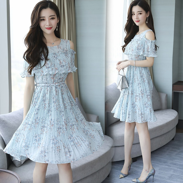 2018 New Summer Spring Women dress Print In Long Small Clear Dew Shoulder Tide Dresses Pink Light Blue Apricot 6212