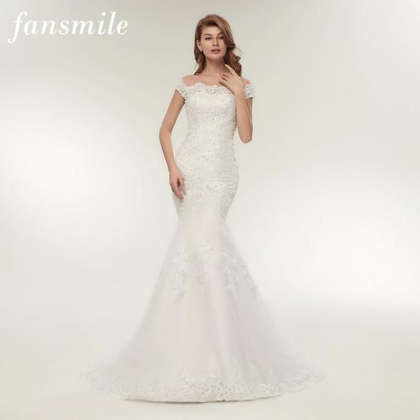 Fansmile Real Photo Vestidos de Novia Vintage Lace Mermaid Wedding Dress 2019 Plus Size Bridal Gowns Robe de Mariage FSM-165M