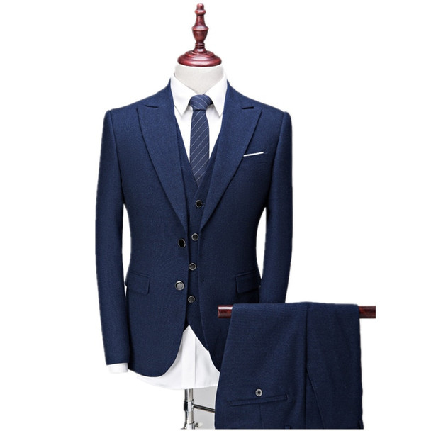 (Jacket+Vest+Pants) Men's suits 2017 new style Men's casual fashion wool suit Men high quality wool wedding suits