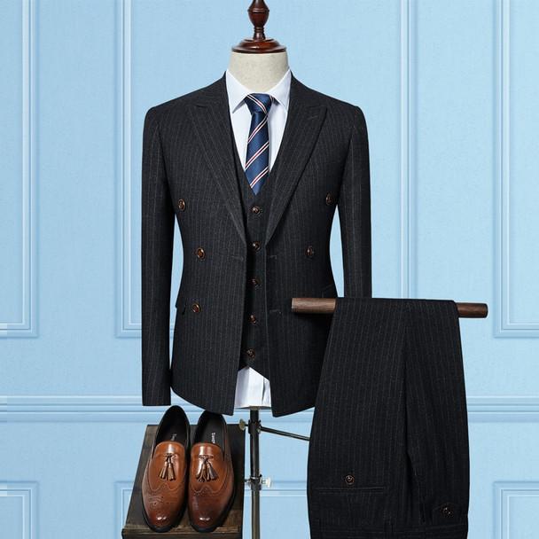 (Jacket+Vest+Pants) 2018 double breasted Men Suits Fashion wool Men's Slim Fit business wedding Suit men Wedding suit size S-3XL