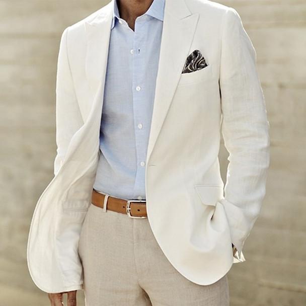 Ivory Linen Suit Custom Made Men White Linen Blazer And Pants Mens Linen Suits For Wedding Tuxedos For Men,Tailored Groom Suit