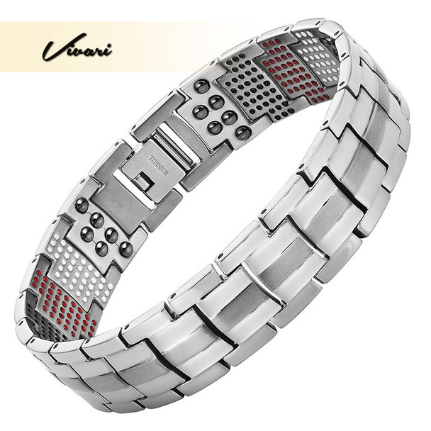 Vivari Men's Health Magnetic Bracelet For Men Silver Plated Pure Titanium Bangle Magnetic Ion Germanium Far Infar Red Bracelets