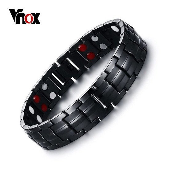 Vnox Black Men's Titanium Bracelets & Bangles Magnetic Health Power Sports Jewelry 22cm free Box