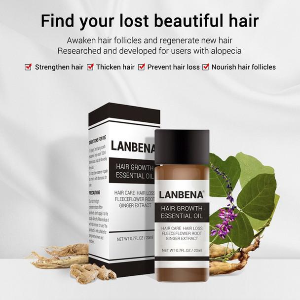LANBENA 20ml Hair Growth Essence Fast Powerful Hair Care Essential Oil Liquid Treatment Preventing Hair Loss Products for Men