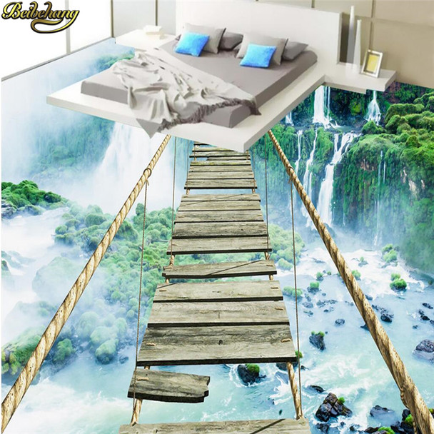 Custom Photo Wallpaper Floor Paintings Sticky Landscape Waterfall Adventure Rope Wooden Bridge 3D Floor