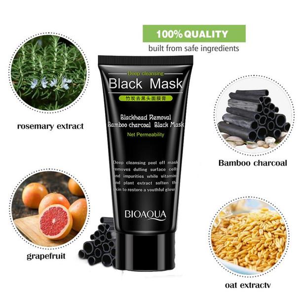 BIOAQUA Skin Care Bamboo Charcoal Blackhead Remover Face Black Mask Deep Cleansing Peeling Mask Beauty Facial Masks