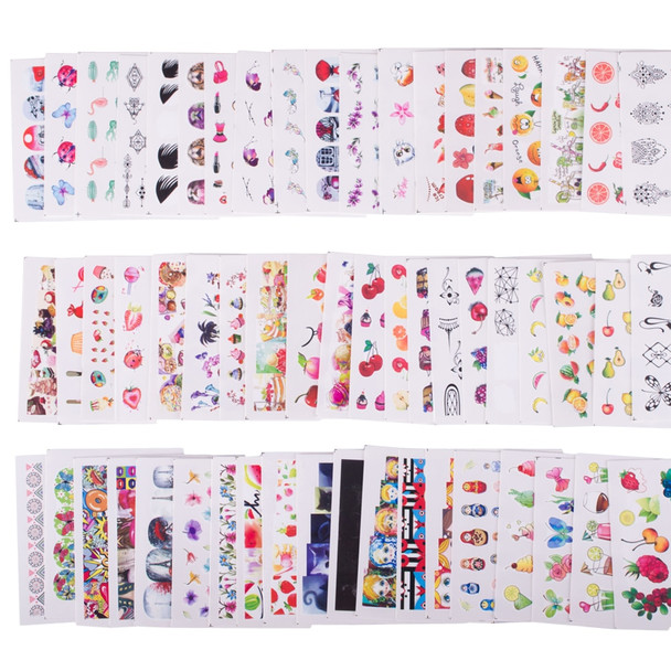 58 pcs/set Mixed Colorful Nail Sticker Fashion Fruit/Cake/Flower Water Transfer Wraps Tips Nail Decor Manicure Tool CHSTZ455-512