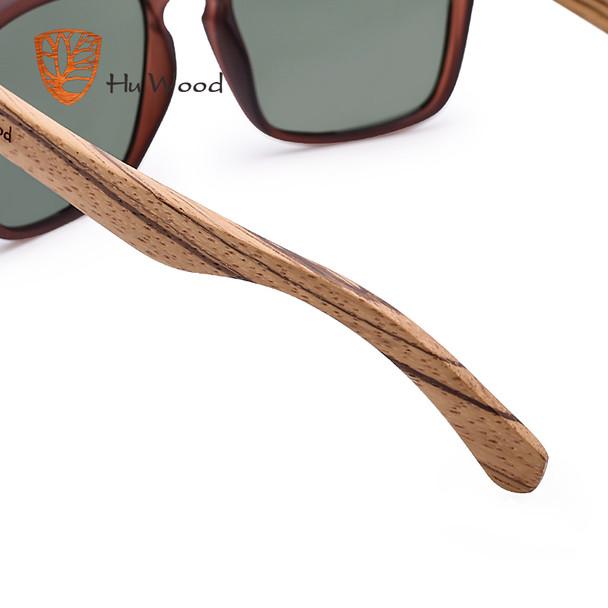 Hu Wood Natural Bamboo Sunglasses For Men Zebra Wood Sun Glasses Polarized Sun Glasses Rectangle Lenses Driving Uv400 Grs8002