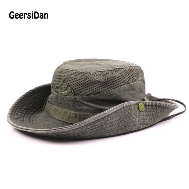 a457642f6e4 GEERSIDAN New Cotton Summer Spring men s Bucket Hats big Wide Brim fishing  hats for men women ...