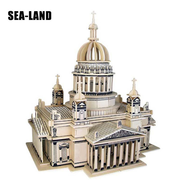 3D Wooden Puzzle Children's And Adult Model The Saint Isaac's Cath A Kids Toy Of The Famous Building Series A Best Gift For Kids