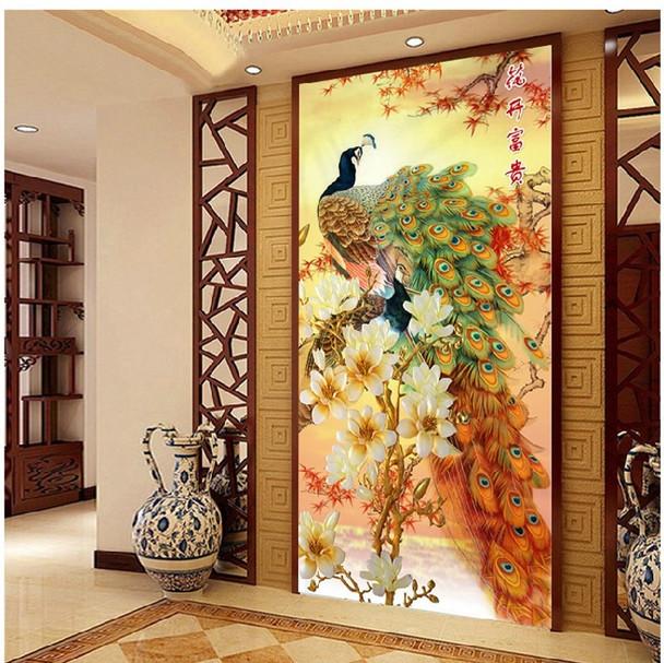 QIANZEHUI,Needlework,DIY blooming flower peacock Cross stitch ,The vertical version of magnolia silk series ,Wall Home Decro