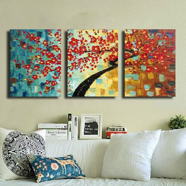 Colorful Abstract Flower Oil Painting on Canvas Handmade Acrylic Paintings Wallpaper Modern Home Decor 3 Panel Wall Art Pictures