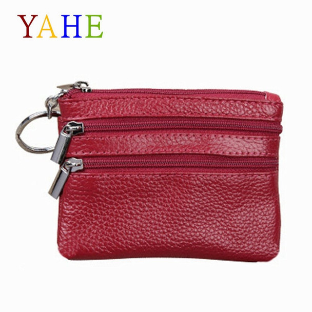 YaHe Small Women Leather Coin Purses Mini Female Coin Wallets with Zip Coin Bag for Key Card Change Pouch Hand Bags for Women