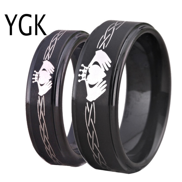 Tungsten Carbide Men's Black Ring Classic Claddagh Design Women's Wedding Band Love Ring Friendship Gift Engagement Party Ring
