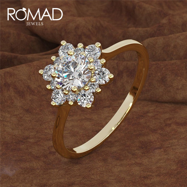 ROMAD Fashion Snowflake White Zircon Gold Color Ring For Women Engagement Wedding Heart Flower Shape Party Jewelry Rings R4