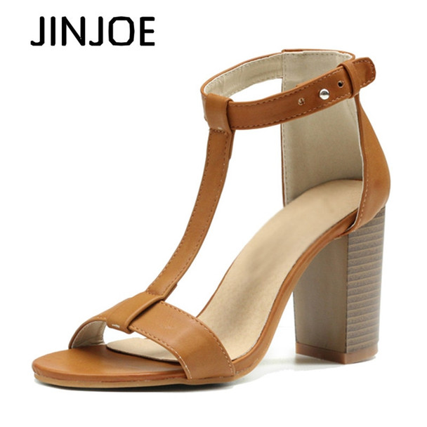 JINJOE Rubbing sandals Rome shoes Women Shoes Sandals Summer Ankle Wrap Sandals High Heels Chunky High Heel Work Shoes
