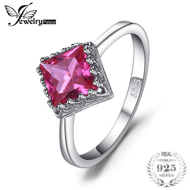 JewelryPalace Classic 1.40ct Square Created Pink Sapphire Solitaire Engagement Ring Genuine 925 Sterling Silver Fine Jewelry
