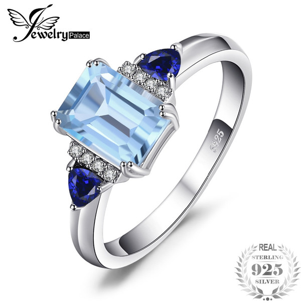 JewelryPalace 1.5ct Emerald Cut Genuine Sky Blue Topaz Created Sapphire Statement Ring For Women 100% 925 Sterling Silver Gift
