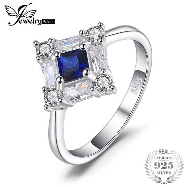 JewelryPalace Octagonal 1ct Blue Created Sapphire Ring Genuine 925 Sterling Silver Fine Jewelry New Gift for Women