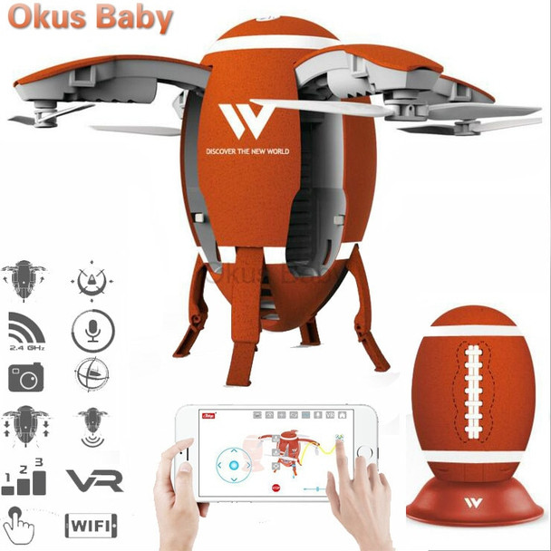 Newest W5 2.4GHz Foldable Flying Egg Drone WIFI FPV Foldable Selfie Drone RC Quadcopter with 0.3MP Camera Altitude Hold 3D Flips