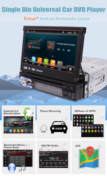 """Eincar 7"""" Android 6.0 Flip Out Car DVD Stereo Radio single din 1DIN 4Core Unit Player car styling in dash GPS NAV support wifi"""