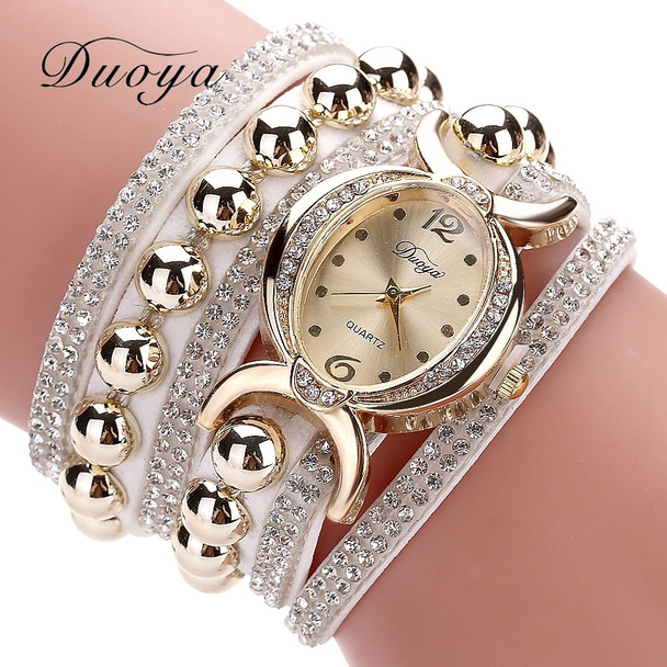 Duoya Luxury Brand Women Gold Rhinestone Leather Wrist Ladies Quartz-Watch Casual Pearl Vintage Bracelet Watches Dropshipping
