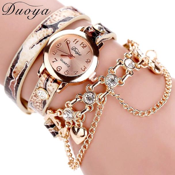 Duoya Brand Watch Women Leopard Luxury Band Bracelet Quartz Braided Winding Wrap Beige Long Chain Female WristWatch