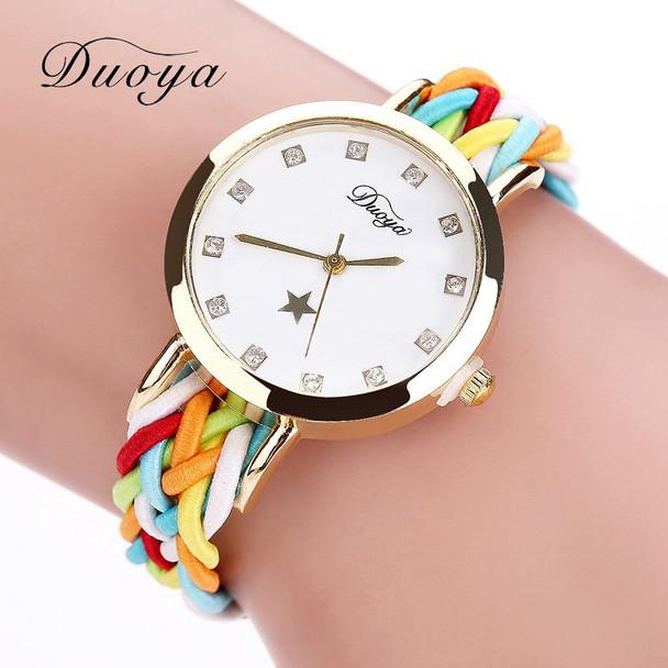 2017 New Fashion Women Gold Braided Leather Wrist Watch For Women Ladies Dress Star Crystal Luxury Crystal Quartz Watch Clock