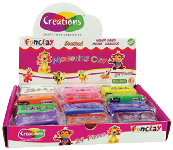 Funclay clay toy art clay set for kids by Creations 24 pcs modelling Clay