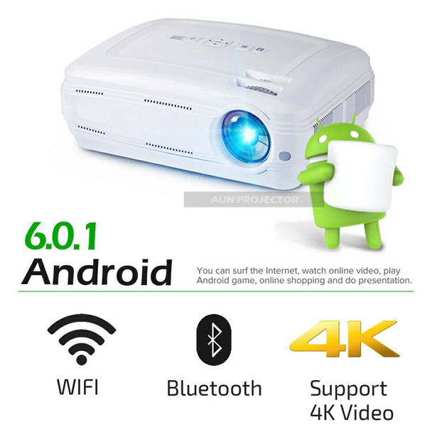 AUN AKEY2 LED Projector, 3500 Lumens Android 6.0 Beamer. Built-in WIFI, Bluetooth, Support 4K Video, Full HD 1080P LED TV